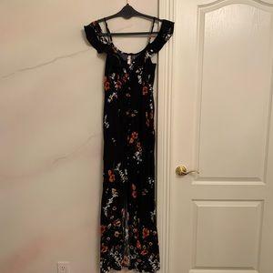 Long Black Floral Dress